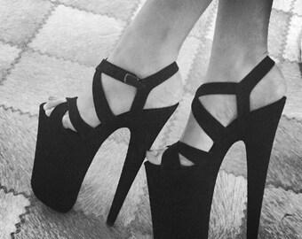 Stripper heels black nubuck 9 inch pole dancer shoes dragqueen heels crossdresser prom shoes bridal shoes club heels stage shoes exotic heel