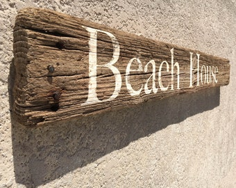 """Beach decor Driftwood 47"""" Beach House Sign Nautical Distressed by SEASTYLE"""
