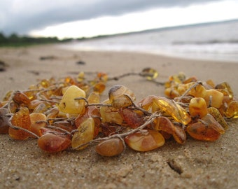Baltic Amber Necklace Multi Strand Linen Necklace Raw Baltic Amber Honey Yellow Orange Natural Pure Zen Fishing Nets
