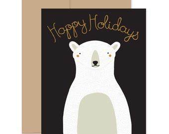Polar Bear Christmas Card, Holiday Card, Polar Bear Holiday Card, Happy Holiday Card, Happy Holidays, White Bear Card, Christmas Bear Card