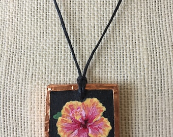 Painted flower pendant, Hibiscus flower necklace, Hibiscus gifts for her, Hawaiian jewelry art, Tropical flower painting, Tropical art gifts