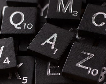 100 Scrabble Tiles ~ Black Wooden Scrabble Tiles ~ Complete 100 Piece Set ~ Wood Pieces ~ Scrabble Letters ~ Full Game Set