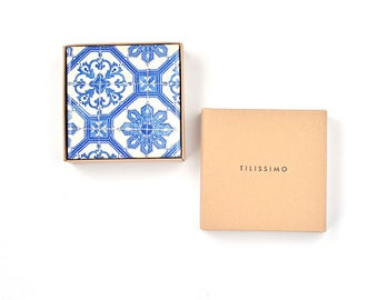 Portugese Azulejo Tiles Coasters Ceramic Coasters Blue White Floor Coasters