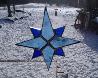 8 point star stained glass suncatcher