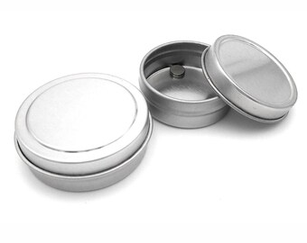MagnaKoys 1/4 oz or 1/2 oz Empty Silver Magnetic Round Tin Containers with Slip Top Covers for Crafts Geocaching