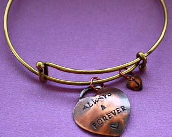 Always and Forever Bracelet - Hand Stamped Heart - Adjustable Bangle - Mother or Grandmother Bracelet