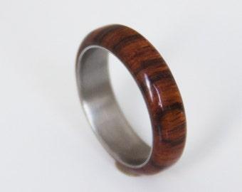 Titanium Ring  man ring wood wedding band cocobolo and titanium ring wood wedding band mens wedding ring