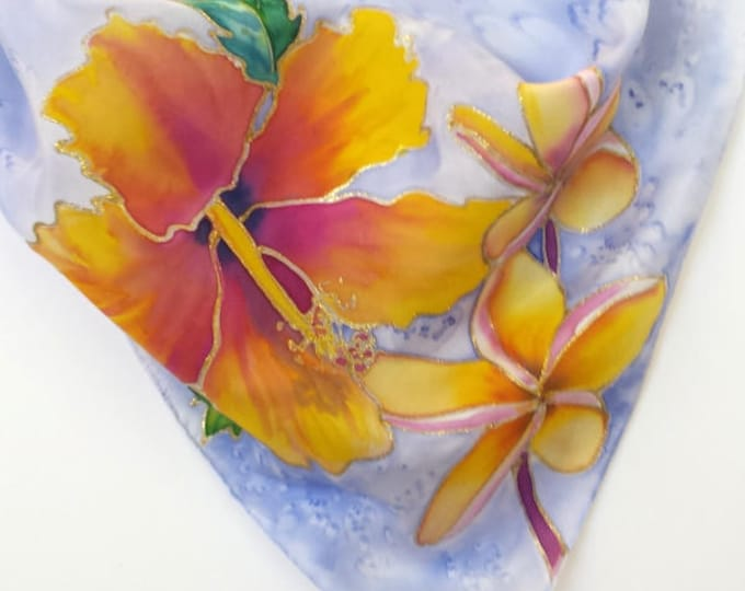 Hand Painted Original Silk Scarf  - Hibiscus Plumeria - Kauai Hawaii Hawaiian - Square Silk Scarf - Silk Scarves - Birthday Gifts for Her
