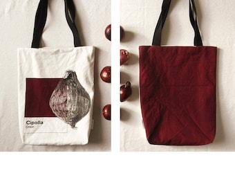 Shoulder bag, shoulder shopper, natural cotton bag, Bordeaux bag