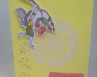 Handmade Blank Birthday Card Fairy