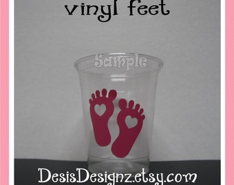 24 Baby shower Baby Feet vinyl decals Girl baby shower decorations sprinkle party vinyl cup stickers vinyl party cup sticker baby girl decal