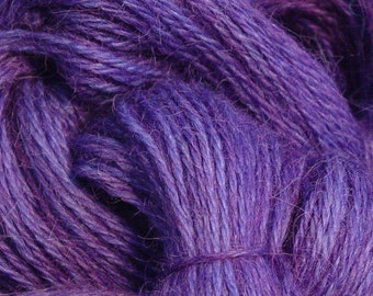 Hand Dyed Alpaca Yarn in Grape - Finger Wt - 250 yds