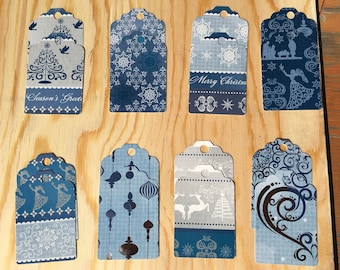 Winter Assortment Cardstock Gift Tags with Jute Cord Assorted Colors: Set of 16