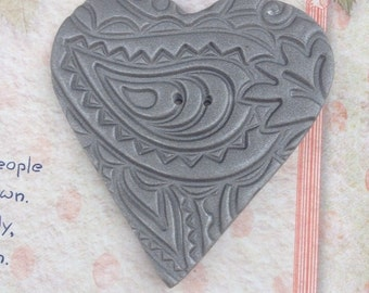 Extra large handmade heart button..Embossed grey OOAK design..