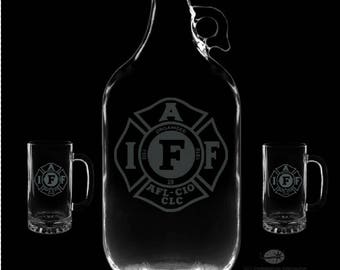 64 Ounce International Association of Firefighters Personalized Growler and 16 Ounce Mugs Set.