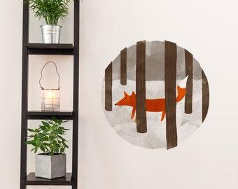 Fox Wall Decal, Fox Wall Sticker, Nursery Wall Decal, Nursery Wall Sticker, Woodland Nursery Art, Woodland Nursery Decal, Fox Nursery Art