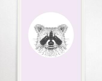 Raccoon Wall Art, Pink Raccoon, Scandinavian Nursery, Childrens Print, Nursery Wall Art, Raccoon Art Print, Woodland Animal Print, Nursery