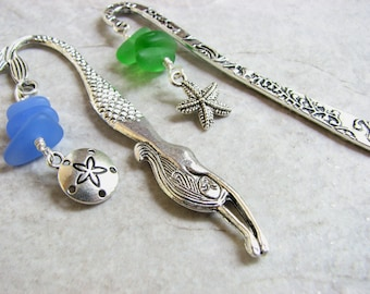 Mini Mermaid Bookmarks, Small Metal Bookmark Sets, 2 Sea Glass Bookmarks, Paperback Book Mark, Mothers Day Gifts for Reader