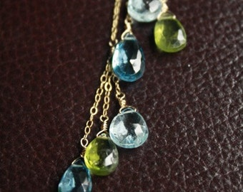 Blue Topaz and Peridot Lariat.....Gemstone Briolettes On Gold