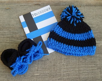Pregnancy Announcement Carolina Panthers-Baby shower gift-Crochet Carolina Panthers Baby Hat-Crochet Panthers booties-Newborn Hat & Booties
