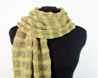 Knit Shawl or Scarf in Alpaca, Wool, Silk and Cashmere - Item 1444