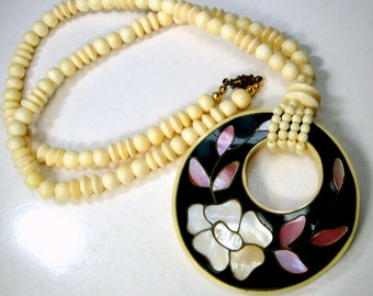 Oxbone Bead Necklace with Flowered Mother of Pearl Inlay Pendant