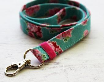 Nurses lanyard - floral lanyard - teachers lanyard - ID holder lanyard - turquoise lanyard - Key lanyard - gift for teachers -