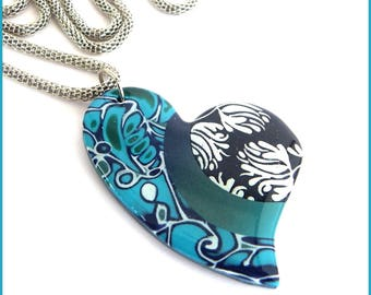 Necklace long Navy Blue heart turquoise blue white resin polymer clay pendant necklace