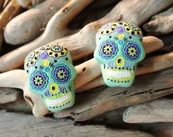 Day of the Dead Earrings Sugar Skull Stud Studs El Dia De Los Muertos Muerto Mint Green Del Mexican Calavera Candy Earring Skeleton Bones