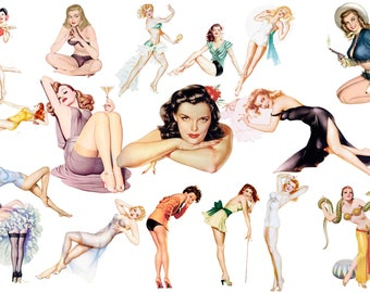 Pin Up Girls Clipart, Mid Century Advertising Elements , Retro Clipart Images , 50s Images , Mid Century Lifestyle  , 1950s Buy 2 Get 1 FREE