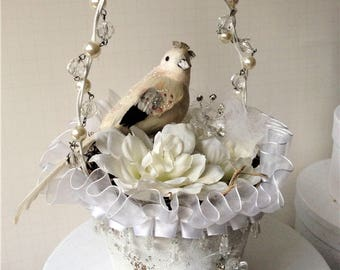 Easter Sale - Large Shabby Peat Pot Basket with Bird, Crystals, Pearls &Flowers-Weddings/Spring/Showers/Easter