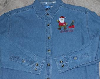 Denim Santa Shirt---ONE Of A KIND