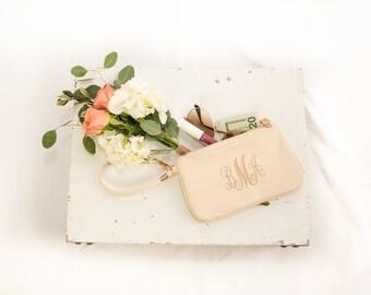 Monogrammed Wristlet | Bridesmaid Gift | Wedding Gift | Monogram Clutch | Bridesmaid Wristlet | Vegan Wristlet | Gifts Under 20 | Waco