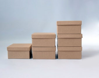 """10- Square Kraft Jewelry Boxes filled with cotton   3-1/2 x 3-1/2 x 1-7/8"""""""