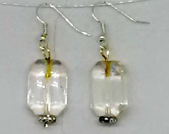 Clear Faceted Rectangle with Silver Spacer Earrings
