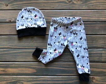 Baby boy clothes, bull dog baby clothes, trendy boy, baby boy leggings, baby pant and hat set, baby boy gift, trendy toddler, new baby