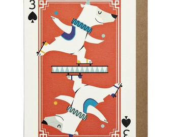 3 of Spades Polar Bear A6 Greeting Card