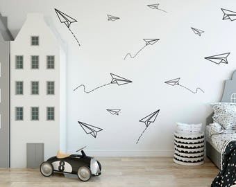 Paper Airplanes Vinyl Wall DEcals Boys Room Decor Planes Stickers Kids Nursery Plane Decal ID653