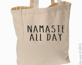 Namaste All Day Canvas Tote, Yoga, Tote, Market Bag