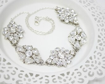 Bridal Necklace, Wedding Jewelry, Silver Crystal, Bridal Jewelry, Statement Necklace, for Bride, Wedding Necklace, Chunky Crystal Necklace