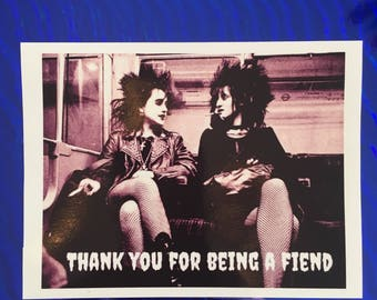 FUNNY THANK YOU Card, Card for Best Friend, Card for Her, Punk Rock Girls, Thank You Card, Best Friend Card, Best Friend Thank You