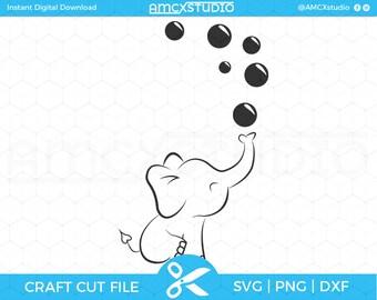 Baby Elephant Svg / Baby Svg / Kids svg / Bubble svg / Cricut file, silhouette file, dxf