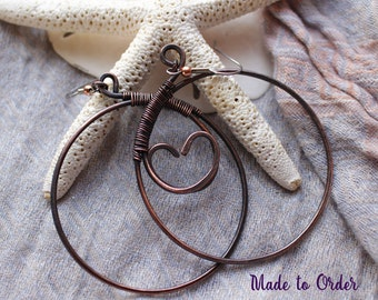 Copper Wirework Large Hoop Earrings