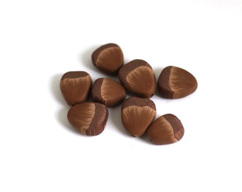 Acorn Beads, Polymer Clay Beads, Brown Forest Beads 8 Pieces