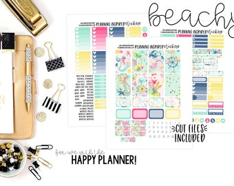 Printable Beach Planner Stickers, Weekly Sticker Kit, Printable Planner Stickers, with Cut Files, for use with Happy Planner | Beachy