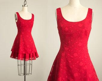 90s Vintage Rampage Red Floral Chiffon Ruffle Layered Hem Mini Dress / Size Small