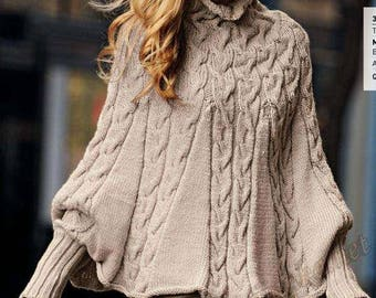 Women's knitted poncho with sleeves in wool with cable handmade poncho custom wool warm Cape for women