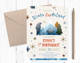 Winter Onederland First Birthday Invitation, Winter Onederland Boy Invitations, Winter Onederland Invites, Winter Onederland Invite, winter