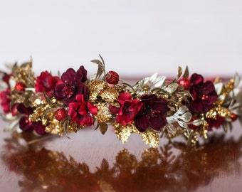 Red and Gold Flower Crown - Christmas Halo- Wedding - Newborn Photo Prop - Wedding Crown - Floral Hairpiece