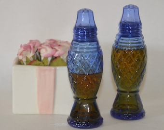 COBALT BLUE-Vintage 1975 Glass Perfume Bottles-Use for Salt & Pepper-Body Powder or Glitter-Hostess-Entertaining-Get Together-Celebrate-FUN